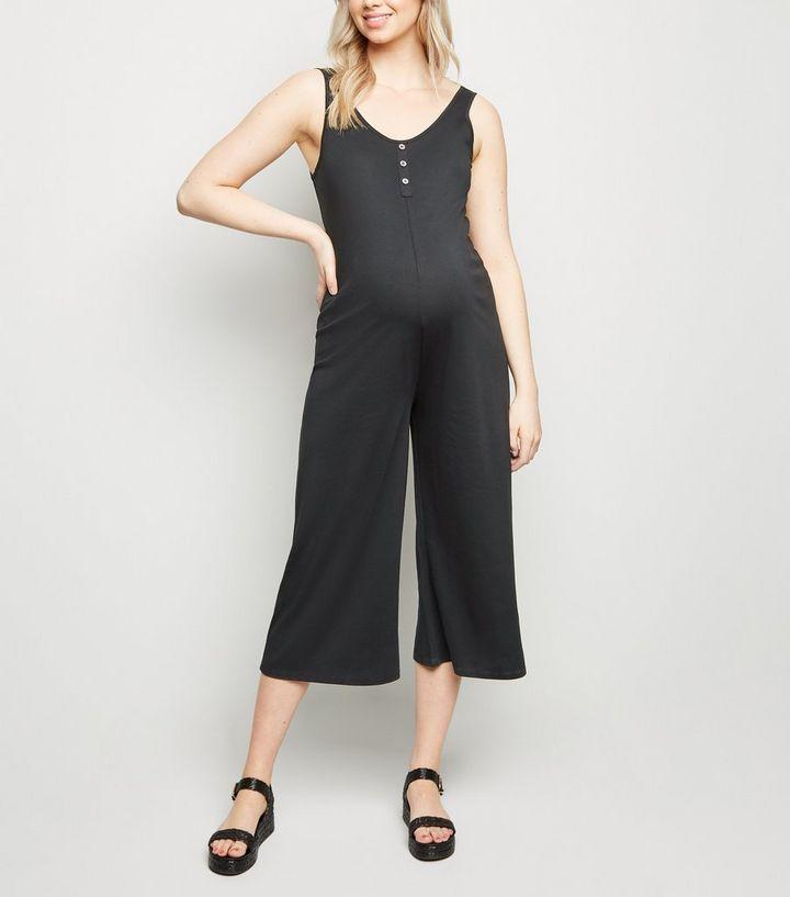 77e007672fd9 Maternity Black Button Front Crop Jumpsuit | New Look