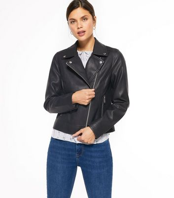 Black Leather-Look Biker Jacket