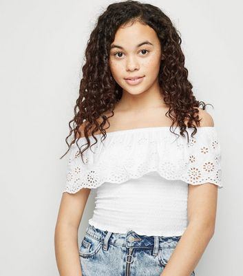 Girls White Broderie Bardot Top