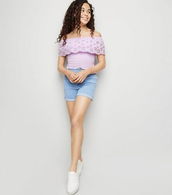Girls Lilac Broderie Bardot Top