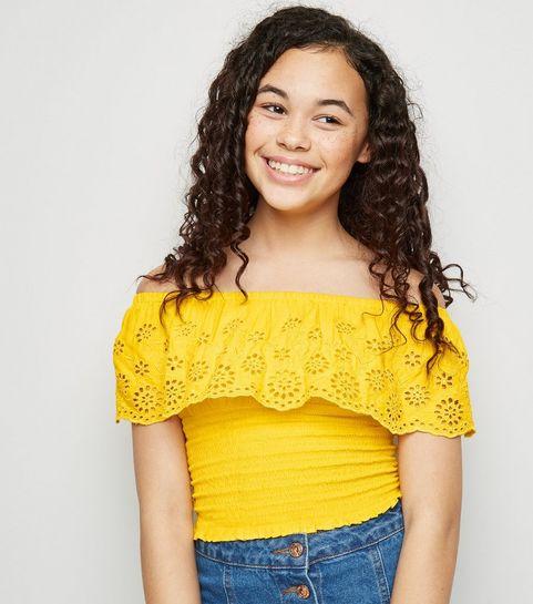 ... Girls Yellow Broderie Bardot Top ... b4f3921d1