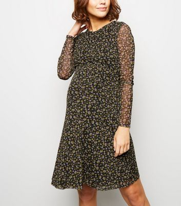 Maternity Ditsy Floral Mesh Skater Dress