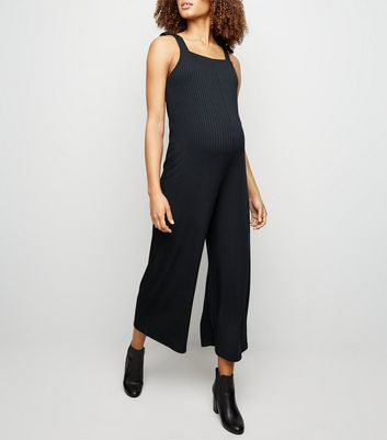 Maternity Black Ribbed Square Neck Jumpsuit