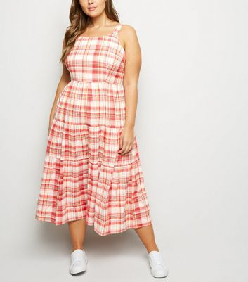 Curves White Check Tiered Midaxi Dress