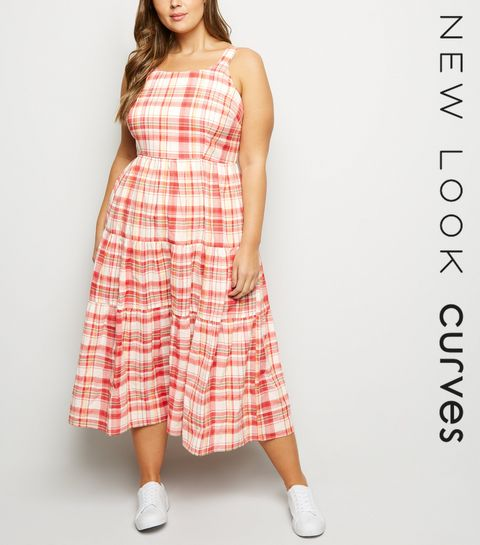 062ec7788cf5f ... Curves White Check Tiered Midaxi Dress ...