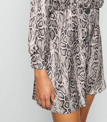 shop for Cameo Rose Light Grey Snake Print Satin Smock Dress New Look at Shopo