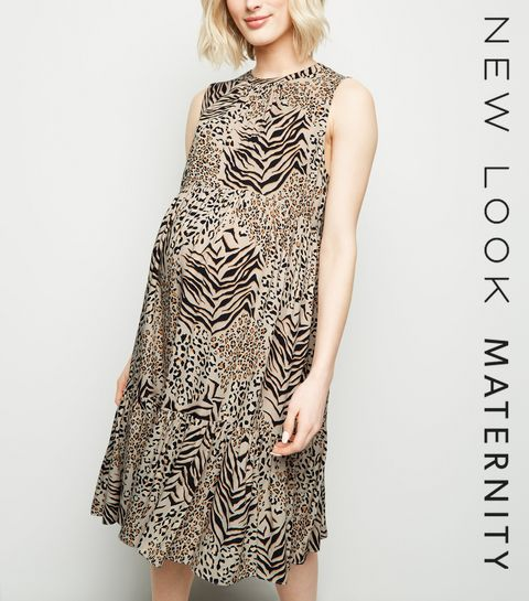 4b696499c8a4 ... Maternity Brown Mixed Animal Print Smock Dress ...