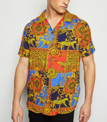 Bright Orange Baroque Print Short Sleeve Shirt