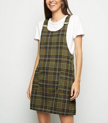 Green Check Pinafore Dress