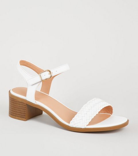 ... Girls White Leather-Look Woven Strap Sandals ... a9316e0252e8