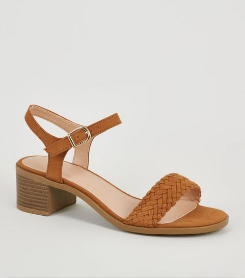20bea19ff ... Girls Tan Suedette Woven Strap Sandals ...