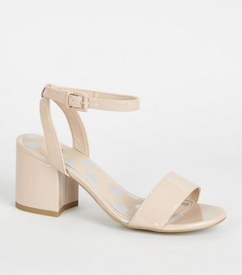 Girls – Zweiteilige High Heels aus Lackleder mit Blockabsatz in Nude