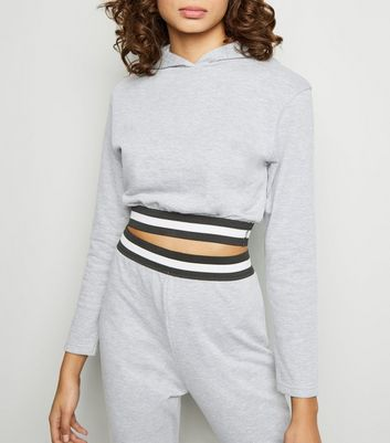 Cameo Rose Pale Grey Marl Cropped Stripe Trim Hoodie