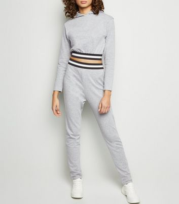 Cameo Rose Pale Grey Marl Cropped Stripe Trim Joggers