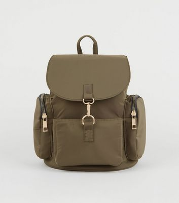 Khaki Utility Pocket Backpack