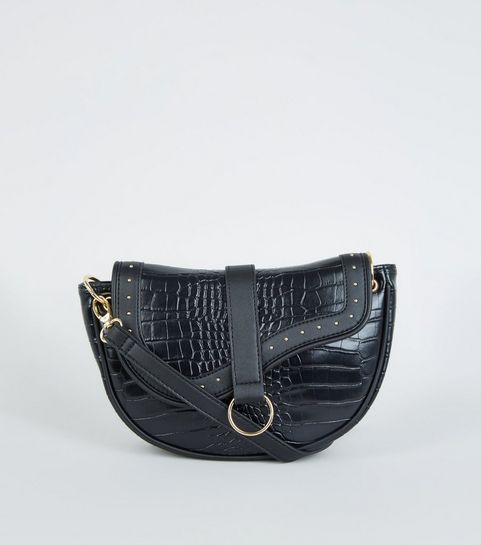 8ff913c974e8 ... Black Faux Croc Stud Saddle Bag ...