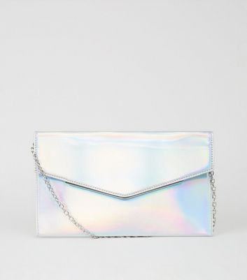 Silver Holographic Envelope Clutch Bag