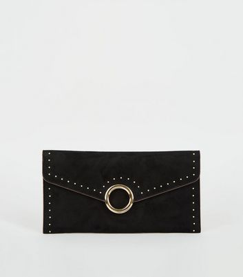 Black Stud Ring Front Clutch bag
