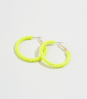 WANTED Yellow Neon Beaded Hoop Earrings