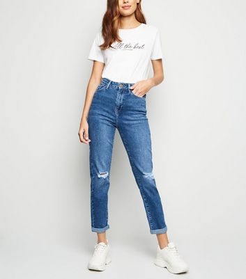 Bright Blue Ripped  'Lift & Shape' Skinny Mom Jeans