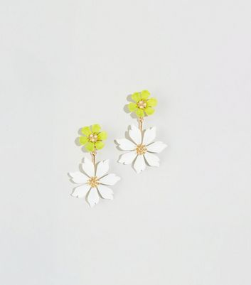 WANTED Off White Double Flower Drop Earrings