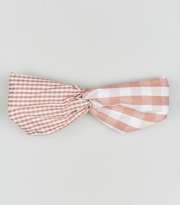 Pink Check and Stripe Twist Front Headband