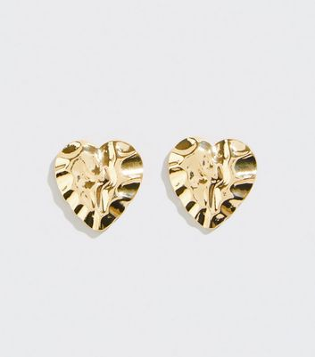 Gold Beaten Heart Stud Earrings