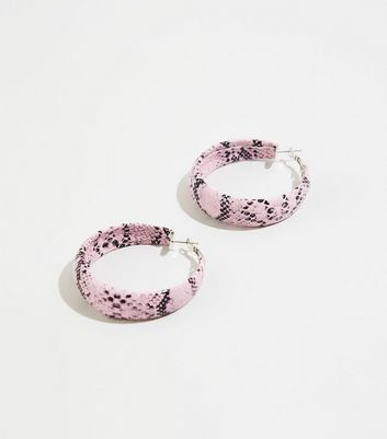 Mid Pink Snake Print Hoop Earrings