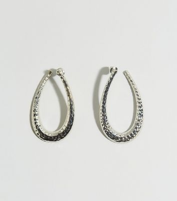 Silver Hammered Oval Hoop Earrings