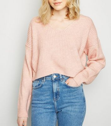 Pale Pink Ribbed Crop Jumper