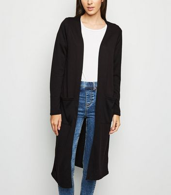 Black Fine Knit Pocket Front Longline Cardigan