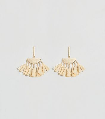 Cream Woven Raffia Tassel Half Moon Earrings
