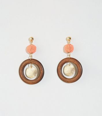 Orange Bead Wood Ring Drop Earrings