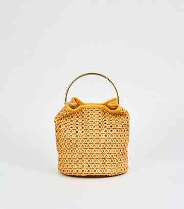 Mustard Leather-Look Woven Bucket Bag