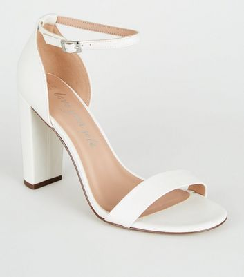 Wide Fit White Leather-Look Block Heels