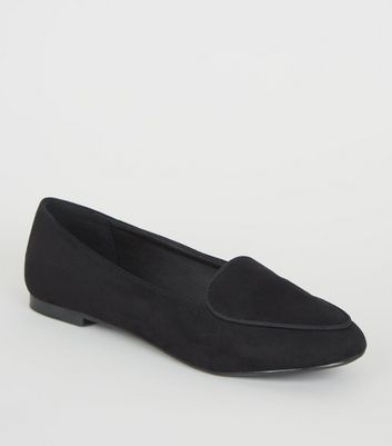 Black Suedette Piped Edge Loafers