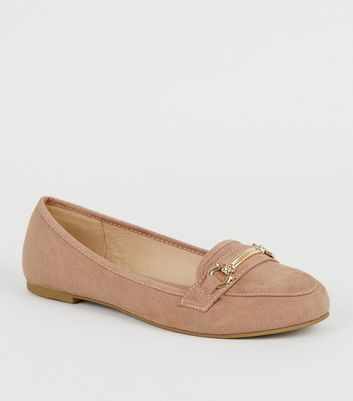 Pink Suedette Bar Front Loafers