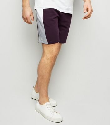 Dark Purple Side Stripe Jersey Shorts