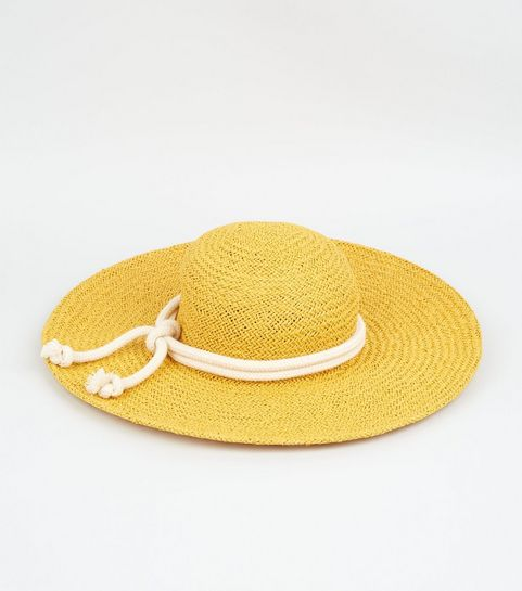 383ada2cfe0 ... Yellow Straw Effect Rope Trim Hat ...