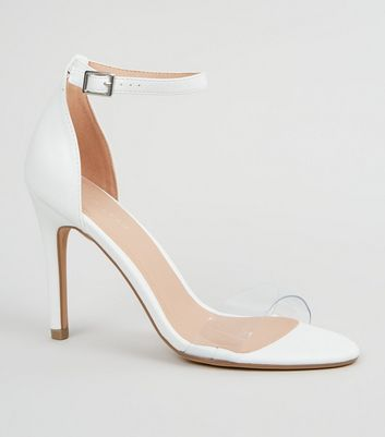 White Leather-Look Clear Strap Stiletto Heels