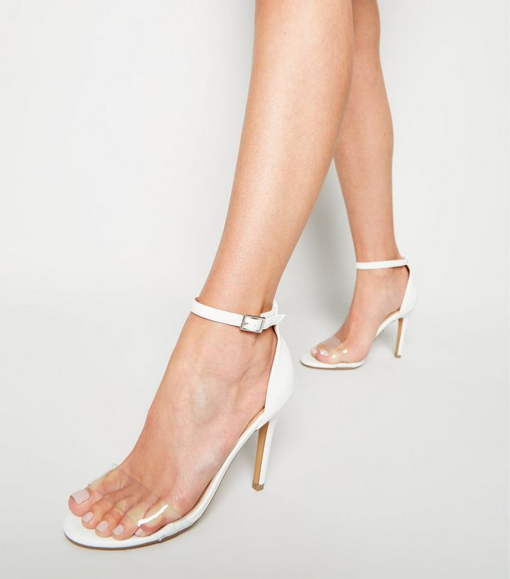 40f4aa87ef3 White Leather-Look Clear Strap Stiletto Heels Add to Saved Items Remove  from Saved Items