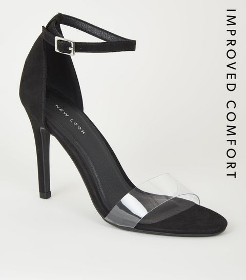 54d80b49115 ... Sandales noires en suédine à talons aiguilles et à brides transparentes  ...