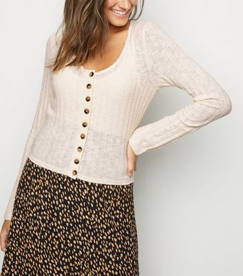 Cream Button Front Fine Knit Cardigan