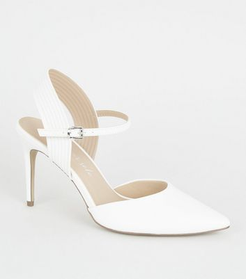 White Leather-Look Piped Stiletto Court Shoes