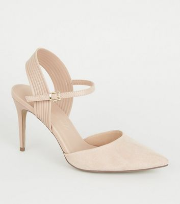 Nude Suedette Piped Stiletto Court Shoes