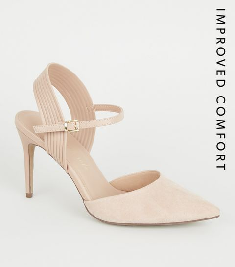 2057fe3f0ae8 ... Nude Suedette Piped Stiletto Court Shoes ...