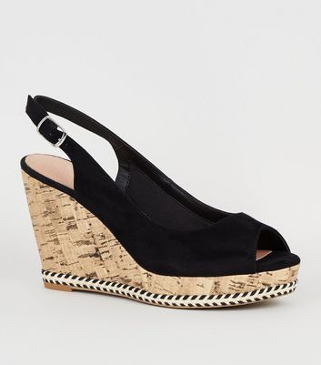 Black Suedette Peep Toe Cork Slingback Wedges
