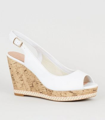White Comfort Leather-Look Cork Wedges