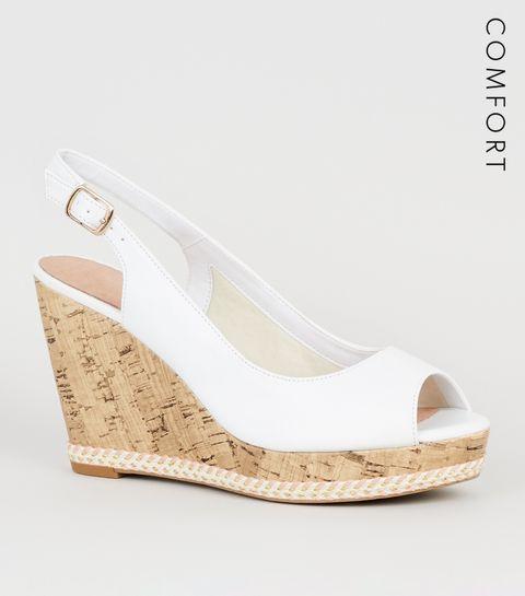 db1a0b0f0ec ... White Leather-Look Peep Toe Cork Wedges ...