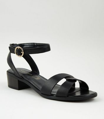 Black Leather Low Block Heel Sandals